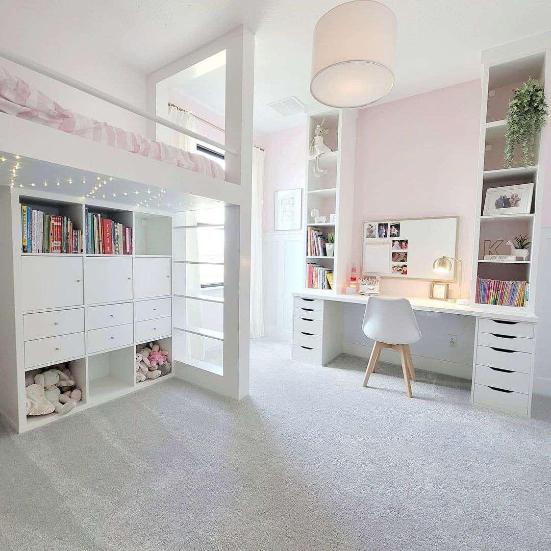 A kid's loft with a closet on the bottom level