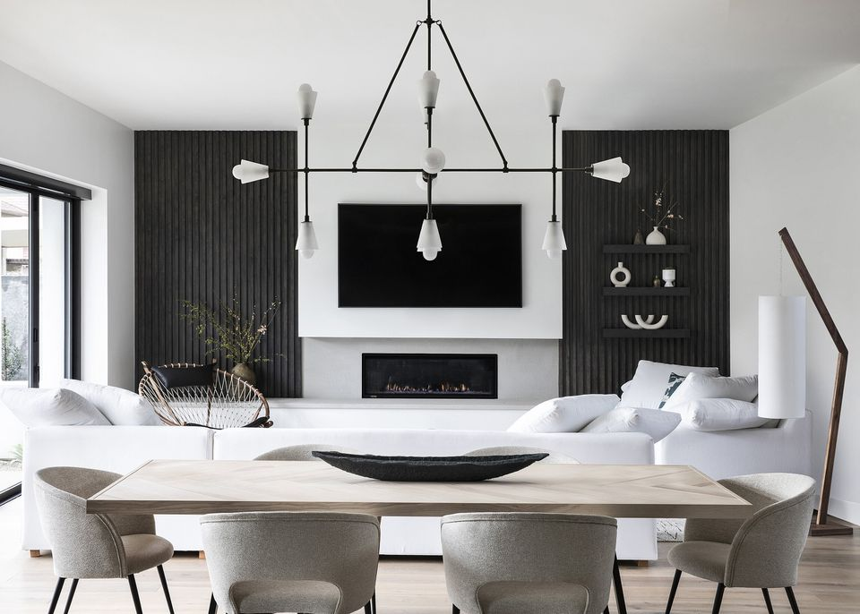 Black and white modern fireplace