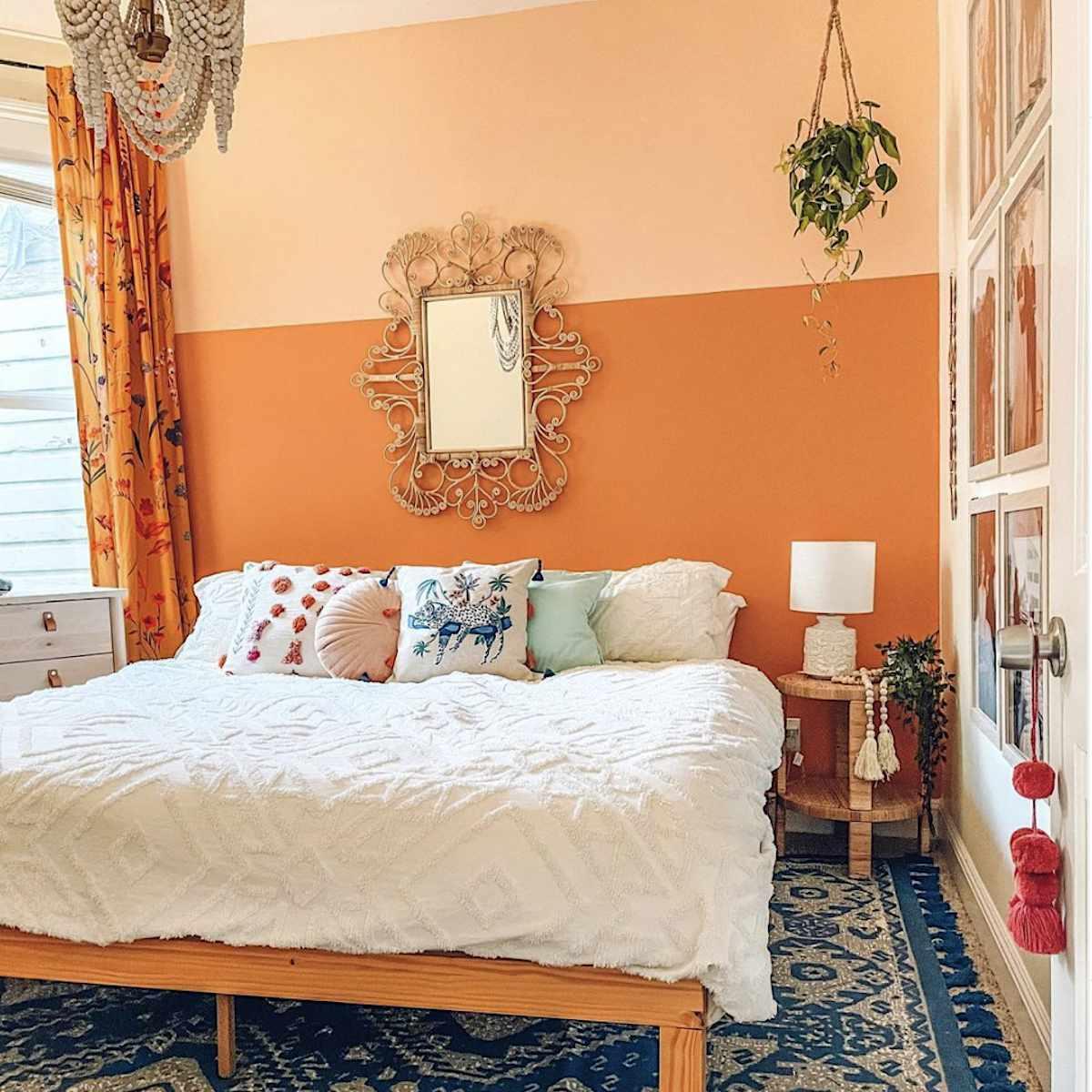 orange and blue boho style bedroom