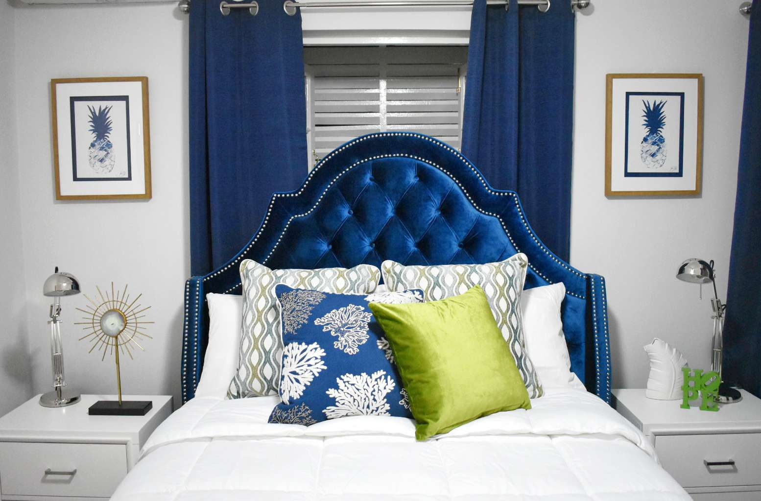 blue and silver modern bedroom