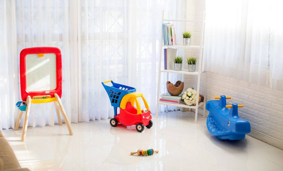 Playroom with vinyl flooring