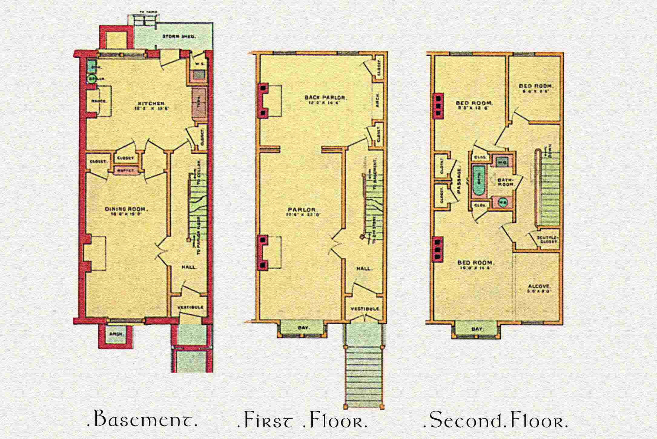 Linear architectural plan and layout for a Victorian townhouse, c. 1887, basement, first floor, and second floor plans illustrated