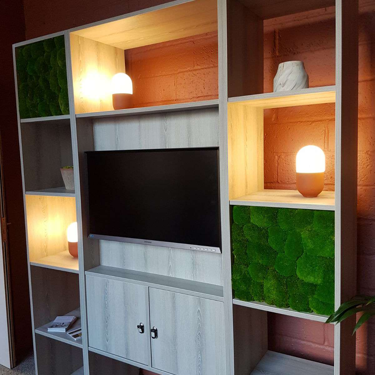 Moss Inserts in a Wall Panel