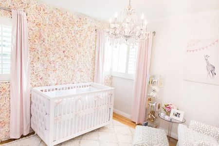 Pink And White Nursery With Stunning Silk Rose Accent Wall