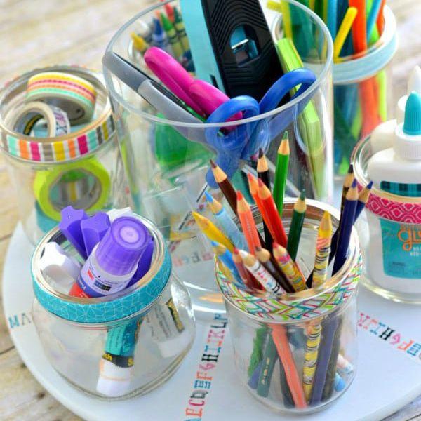 Proyectos de bricolaje de regreso a la escuela para organizar útiles escolares