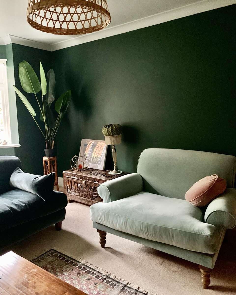 Green living room and chair