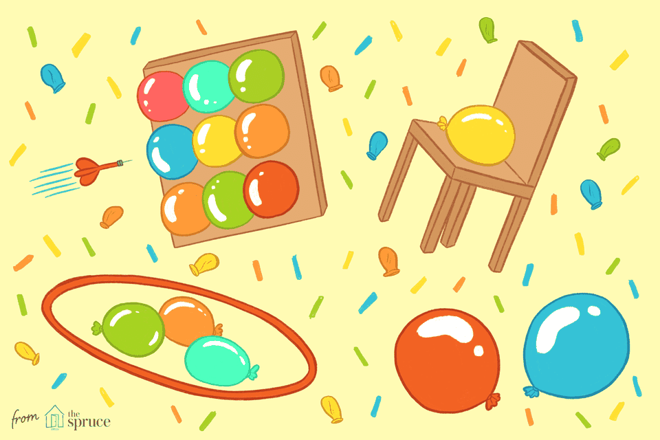 illustration of party balloon games