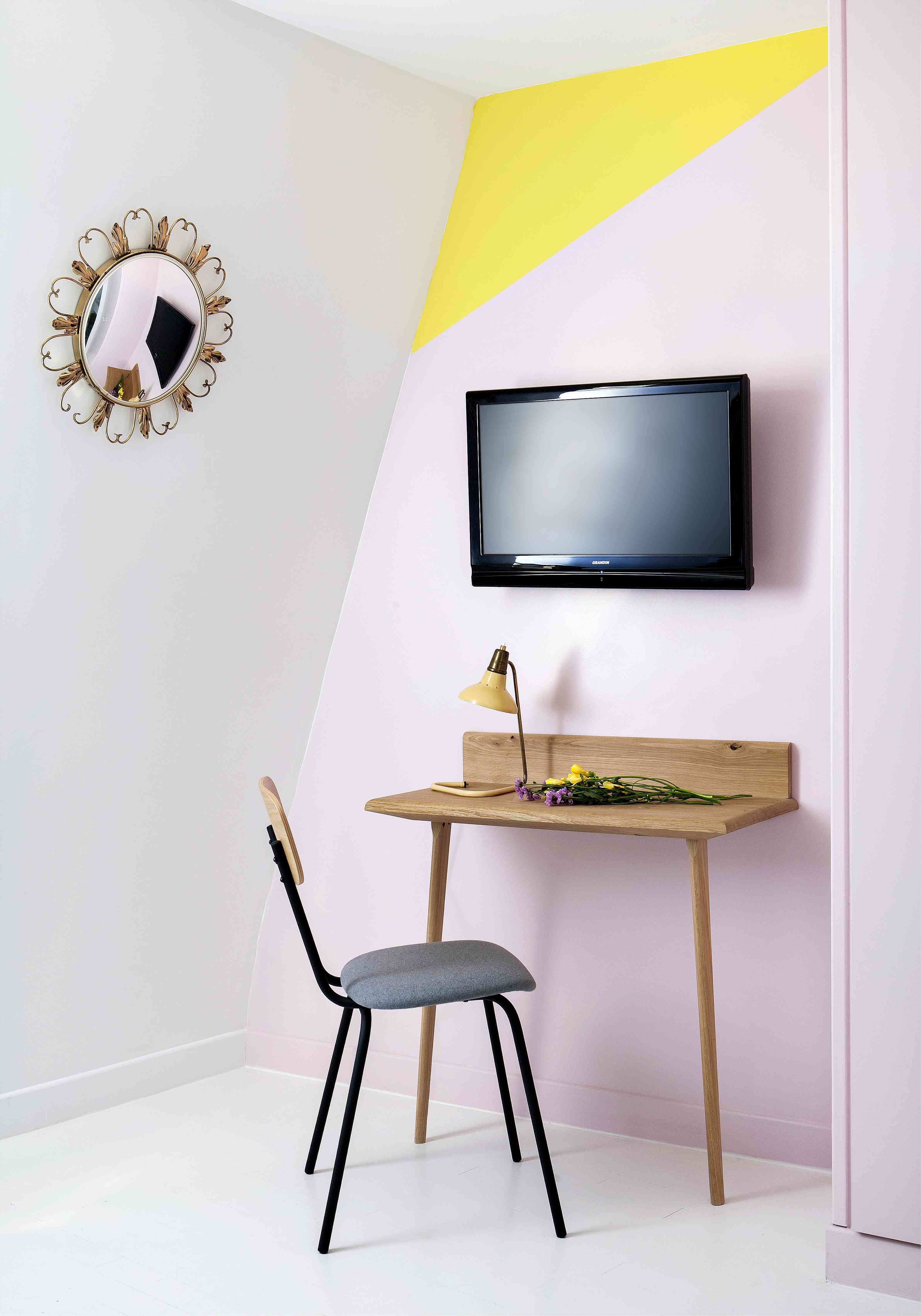 Yellow and pink home office