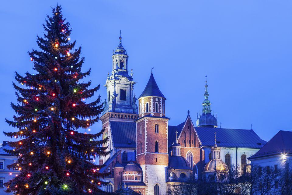 Cathedral and Christmas tree in Poland