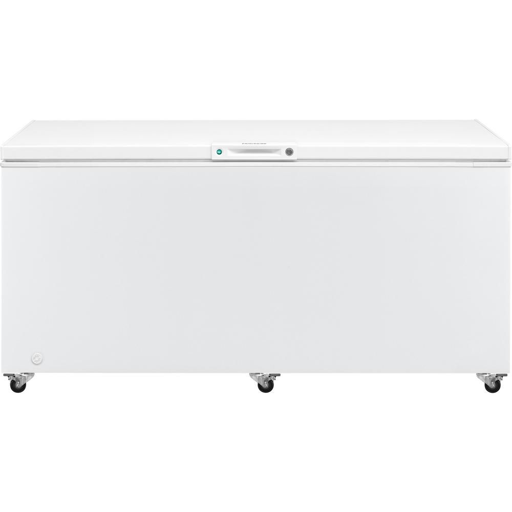The Frigidaire 19.8 cu. ft. Chest Freezer has a white exterior, and also comes in a variety of sizes to fit your home.