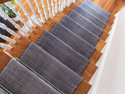 Black and white graphic stair tread cover