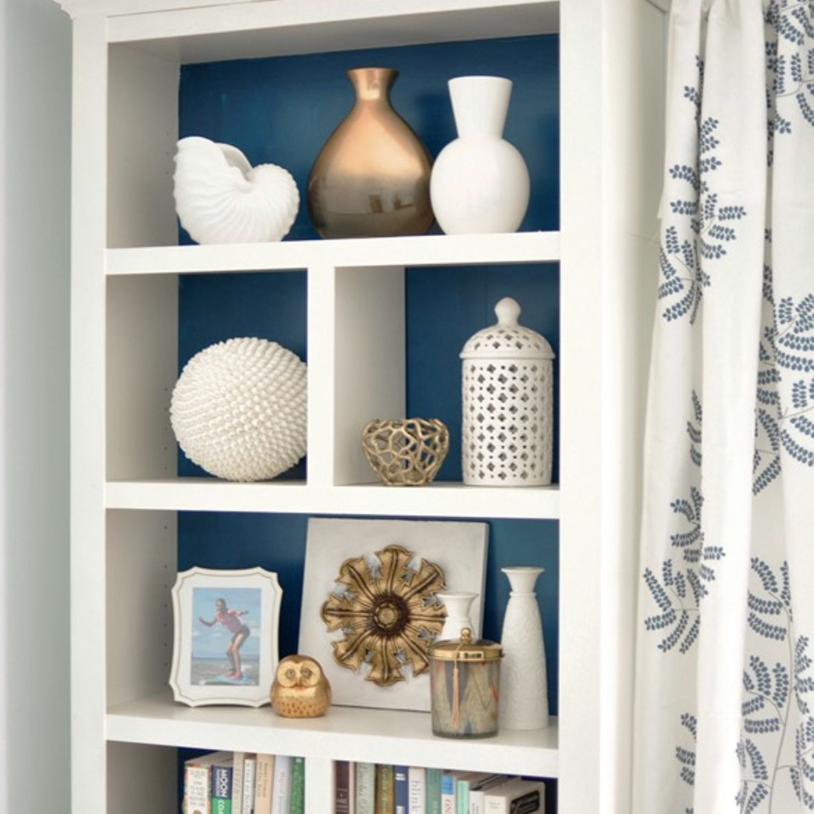 IKEA Billy bookcase makeover with base and crown molding.