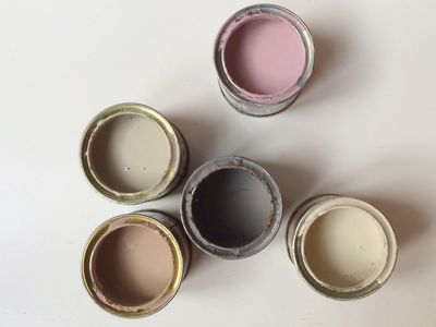 Open paint cans from overhead