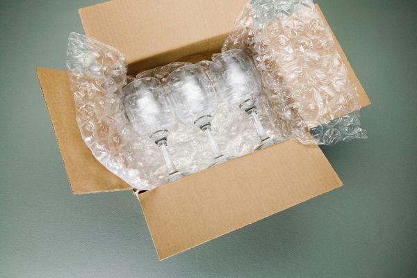 Wine glasses in a box