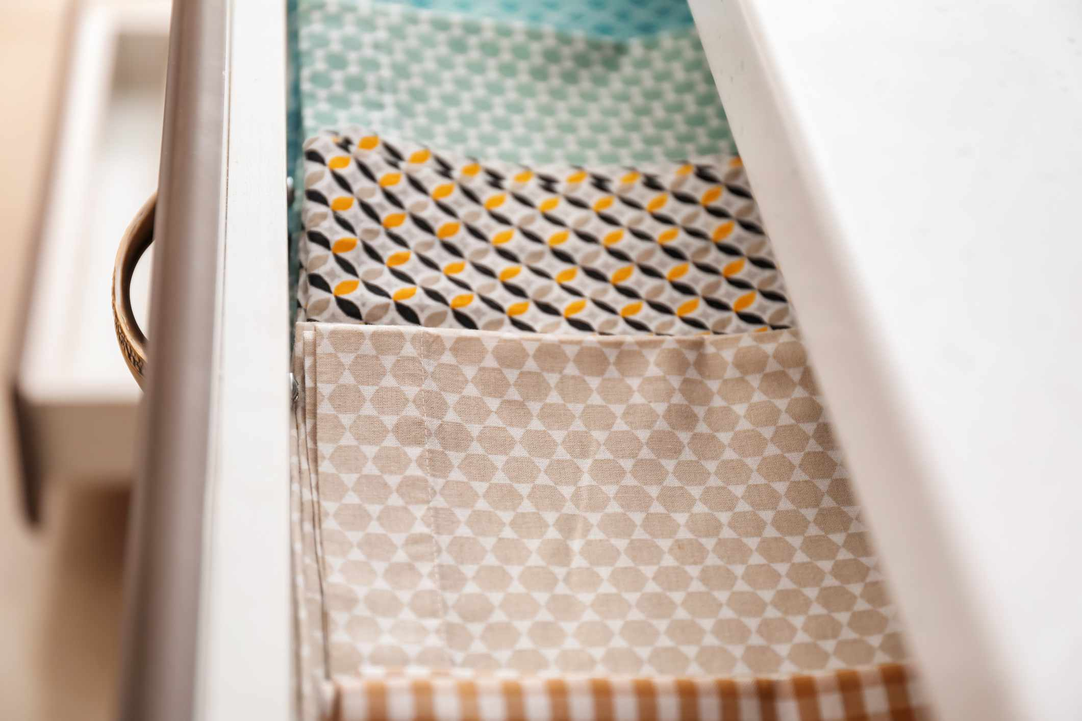 placemats folded in a drawer