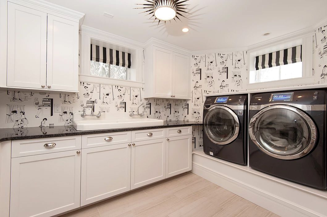 black and white retro laundry room