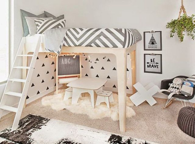 Kids room with loft bed and under-bed play zone