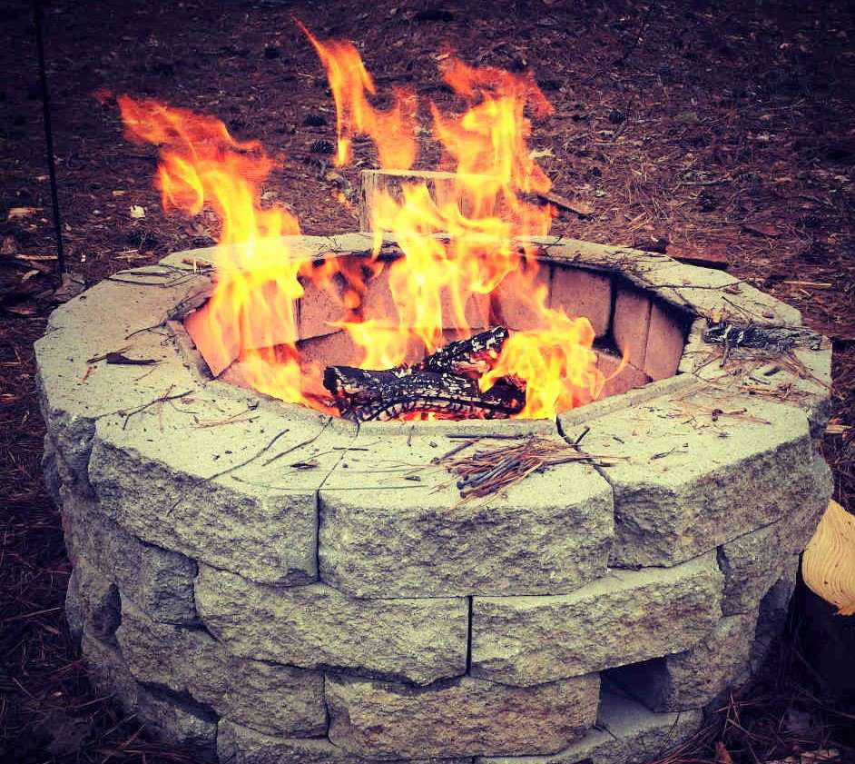 Large DIY Retaining Wall Block Fire Pit
