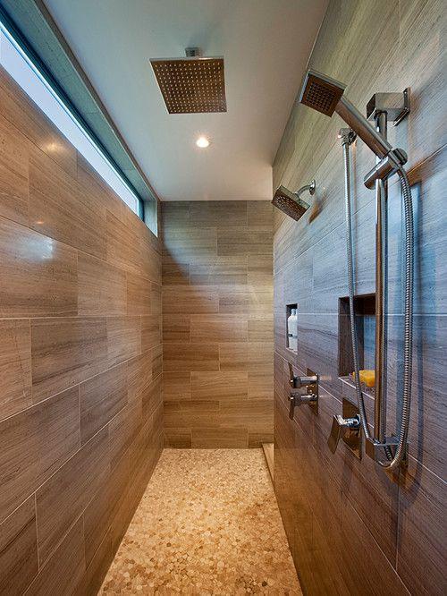 A walk-through double shower