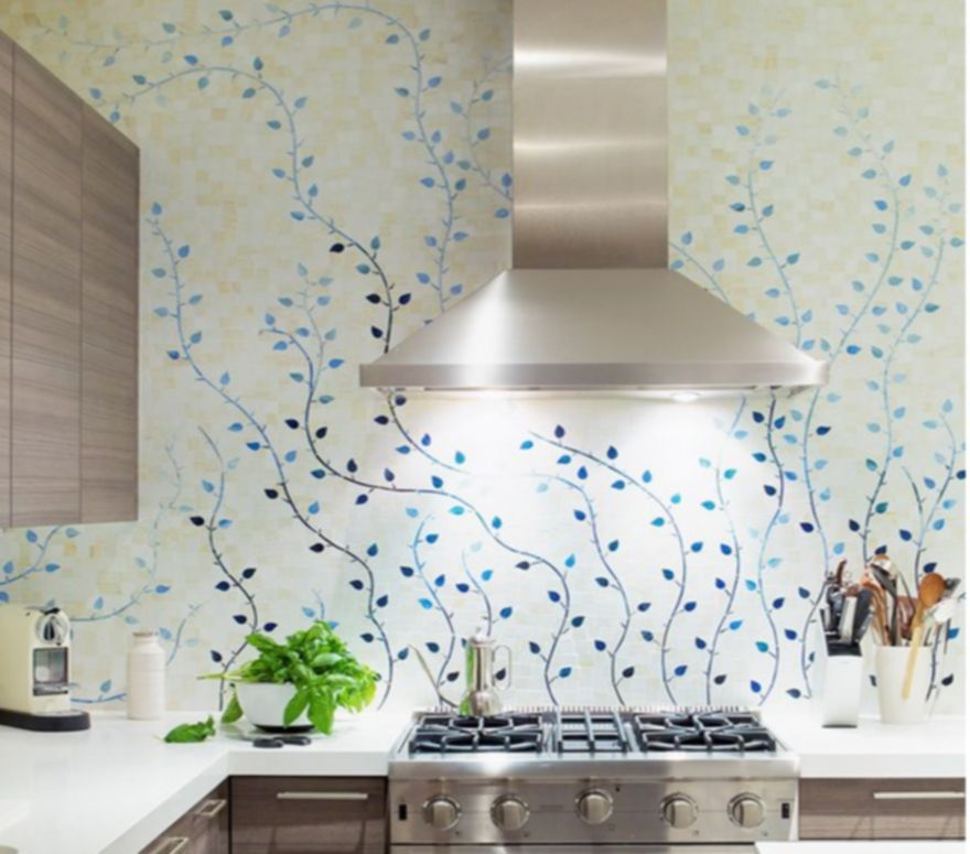 Azure continuous flower pattern kitchen backsplash