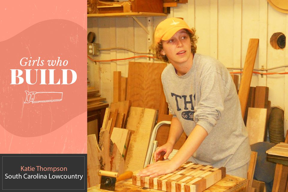Katie Thompson in her workshop working on a custom wood cutting board for Girls Who Build