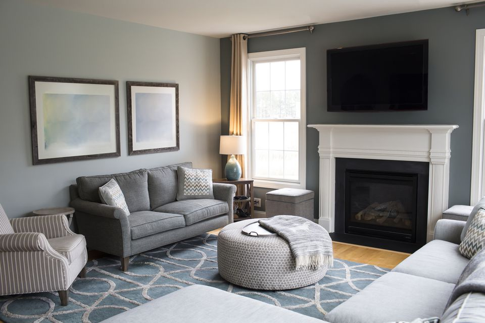 Sofas Arranged in a Modern Family Room, Clean and Bright, Window Lit