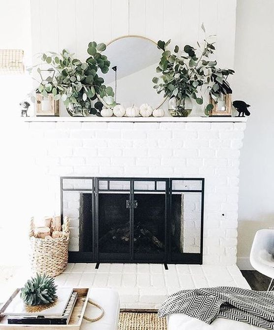 Greenery above a mantle
