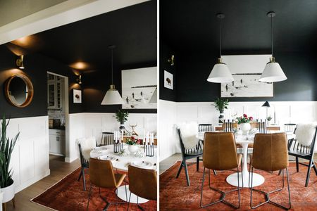 Black Dining Room With White Wainscotting
