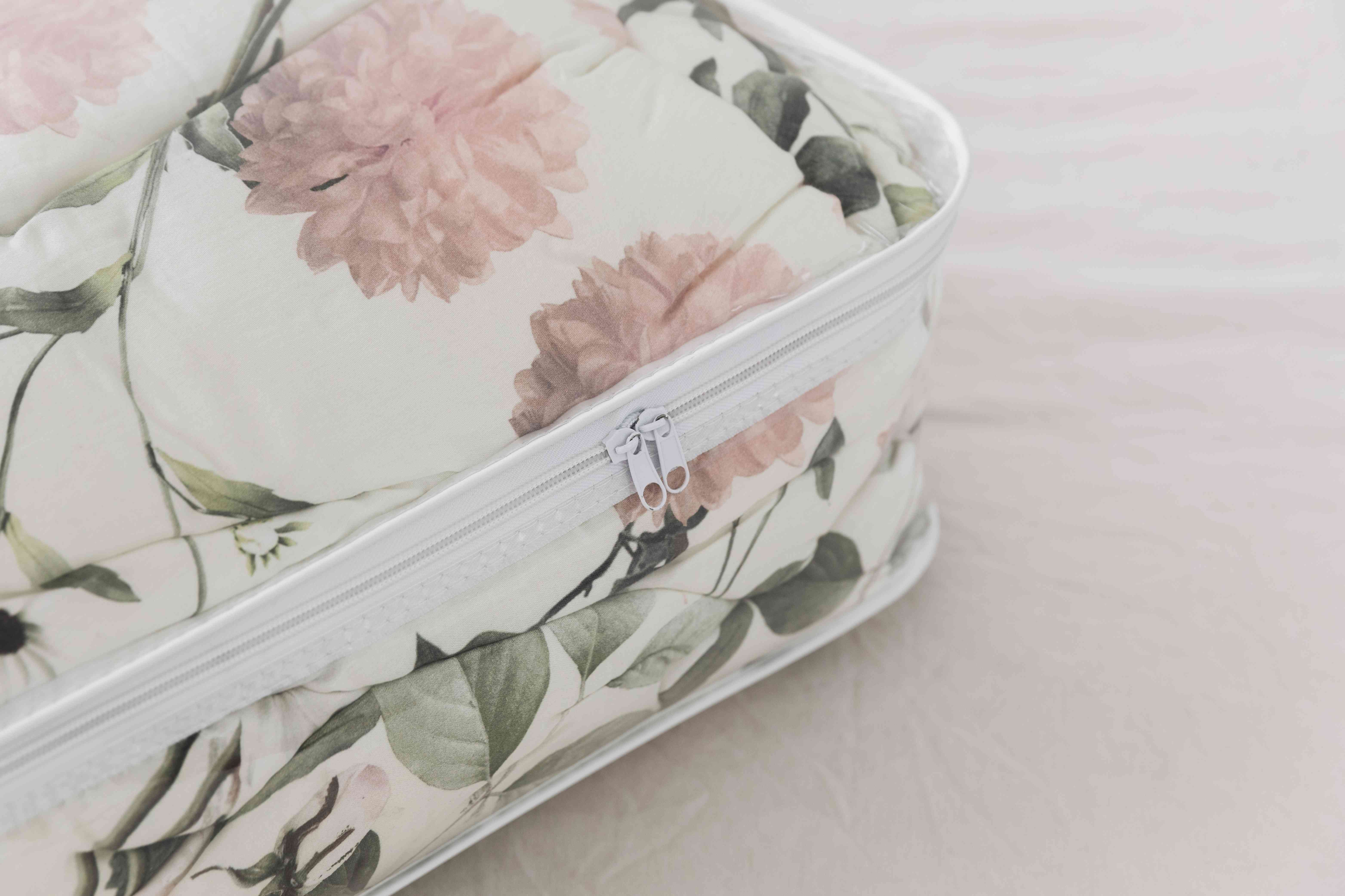 comforter in a sealed container