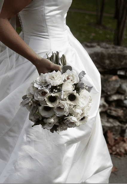 White bridal bouquets classic and elegant choose white flowers with black centers for formal weddings photo courtesy of blue bouquet bluebouquet mightylinksfo