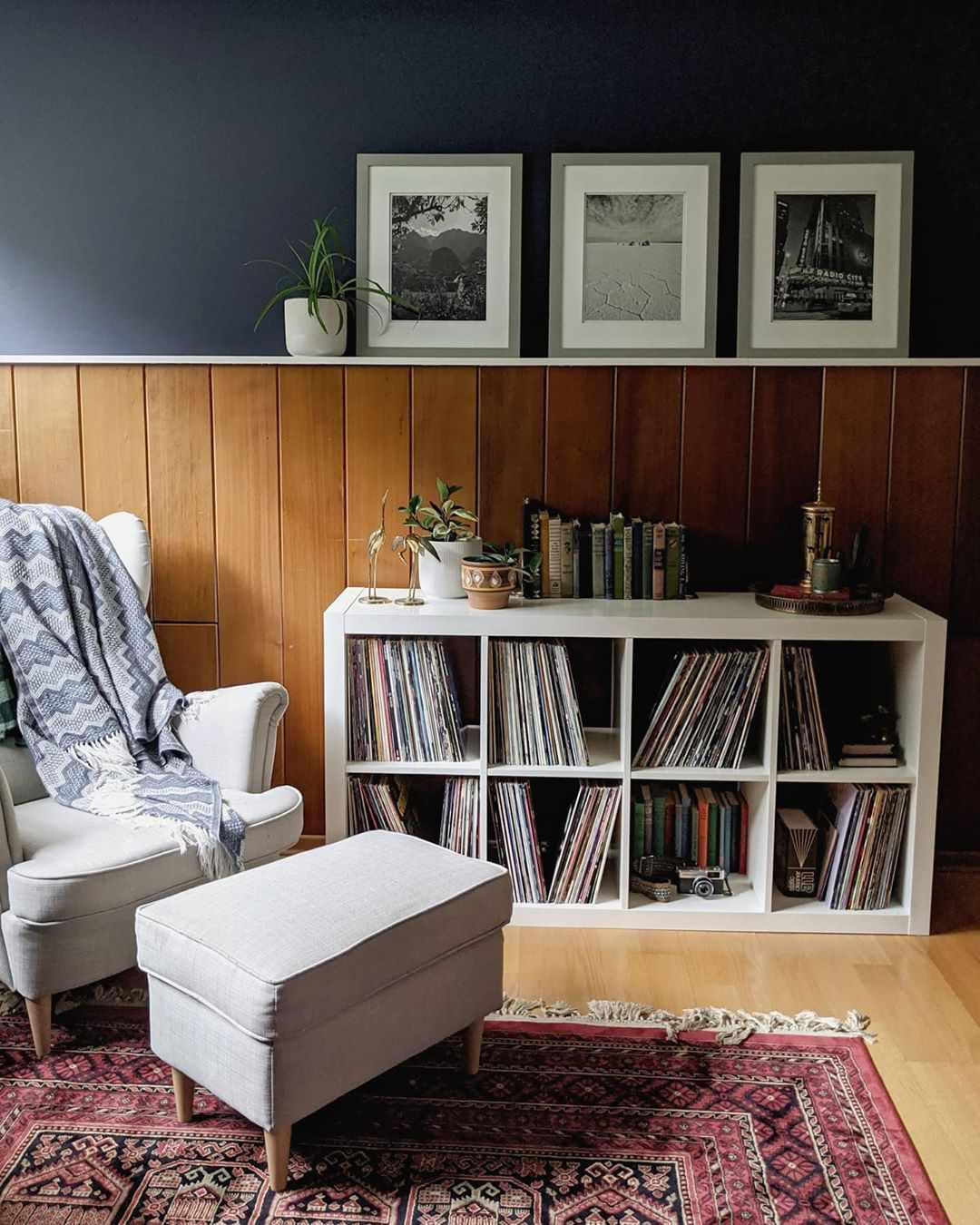 Reading corner with half paneled wood walls