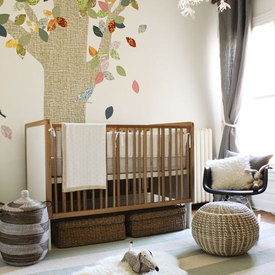 Natural baby nursery with neutral color scheme and nature theme