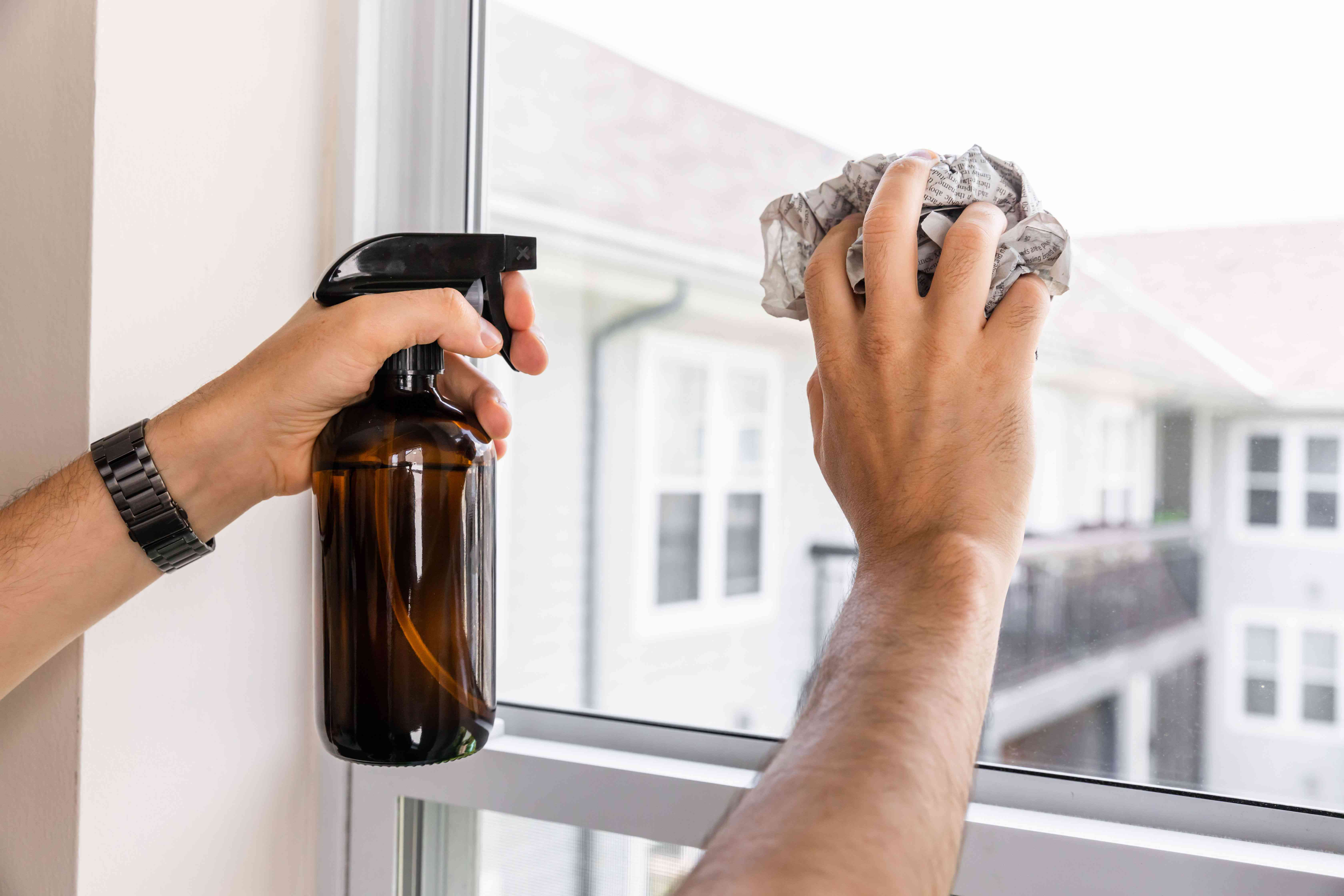 Using homemade glass cleaner