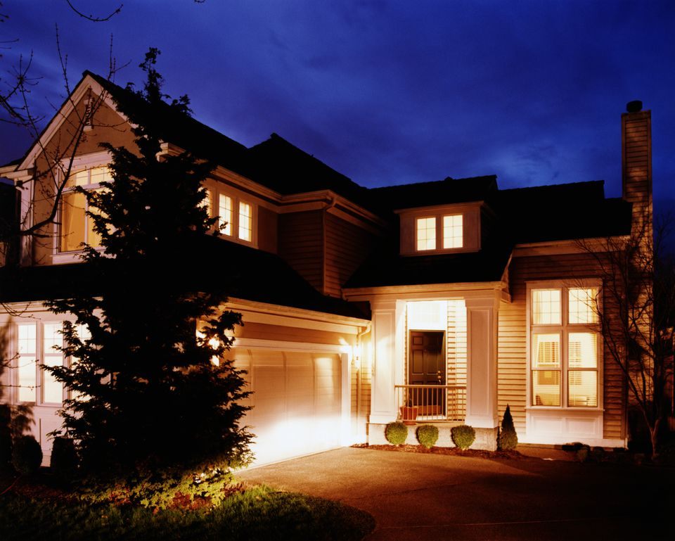 outdoor lighting on a suburban house