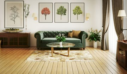 Living room with velvet couch