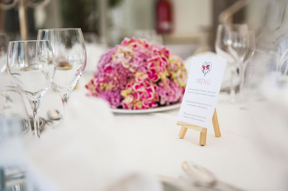 wedding menu on set table