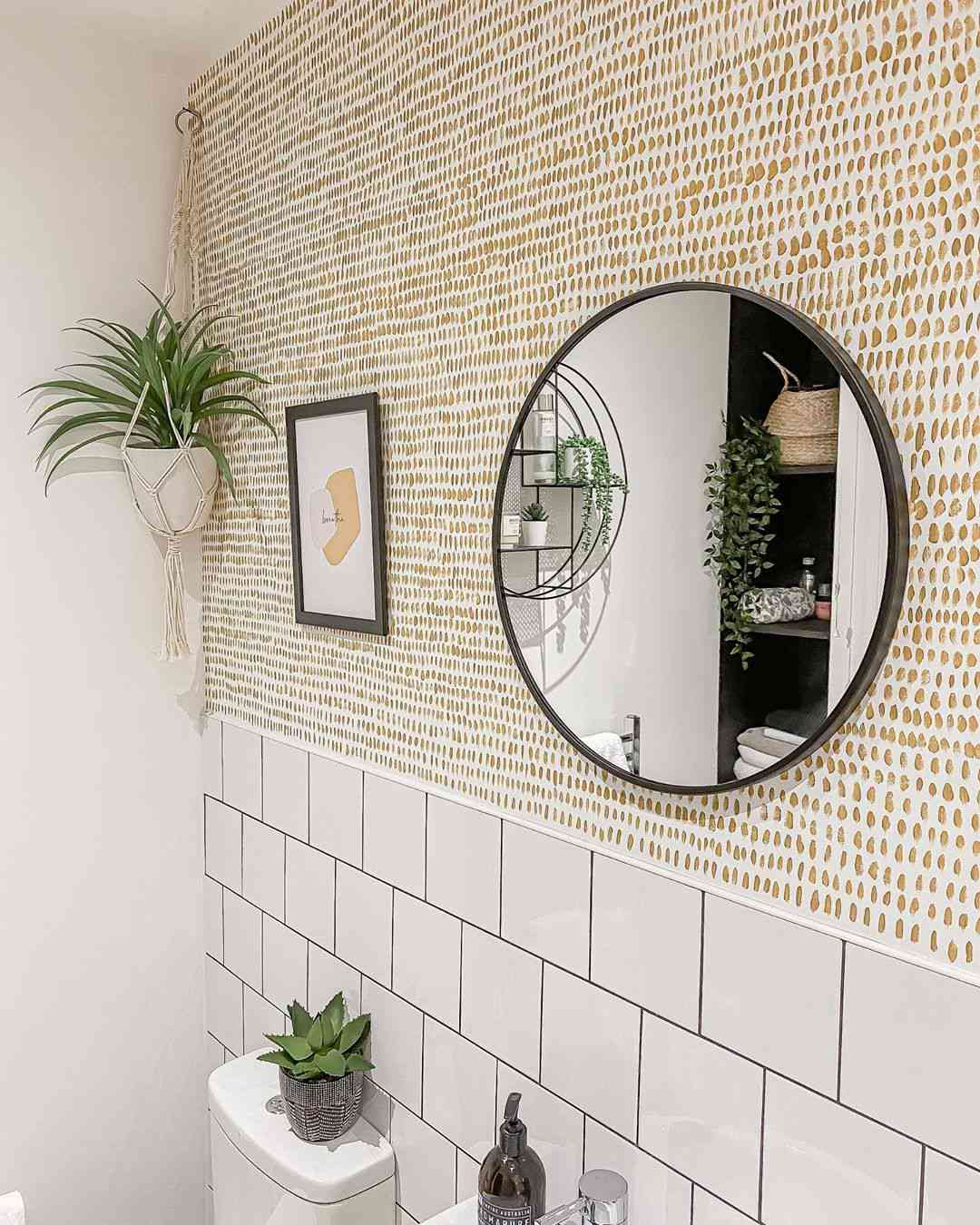 Bathroom with white tile and wallpaper