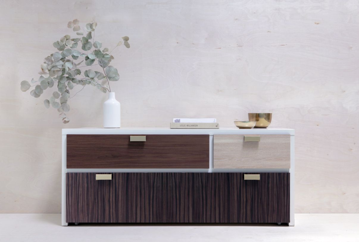 Customized dresser with different woodgrain panels