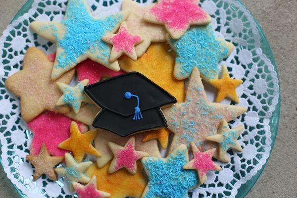 star themed graduation cookies