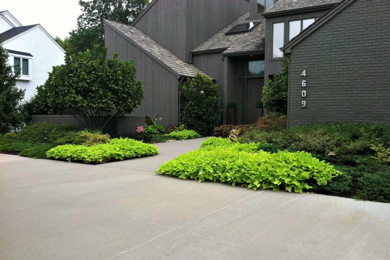 jardín moderno en el jardín delantero