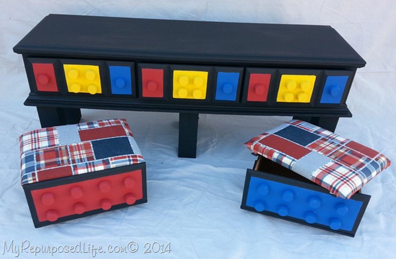 tocador reciclado convertido en mesa de LEGO DIY