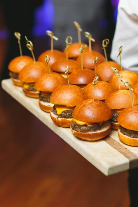 Miniature Cheeseburgers on a serving board