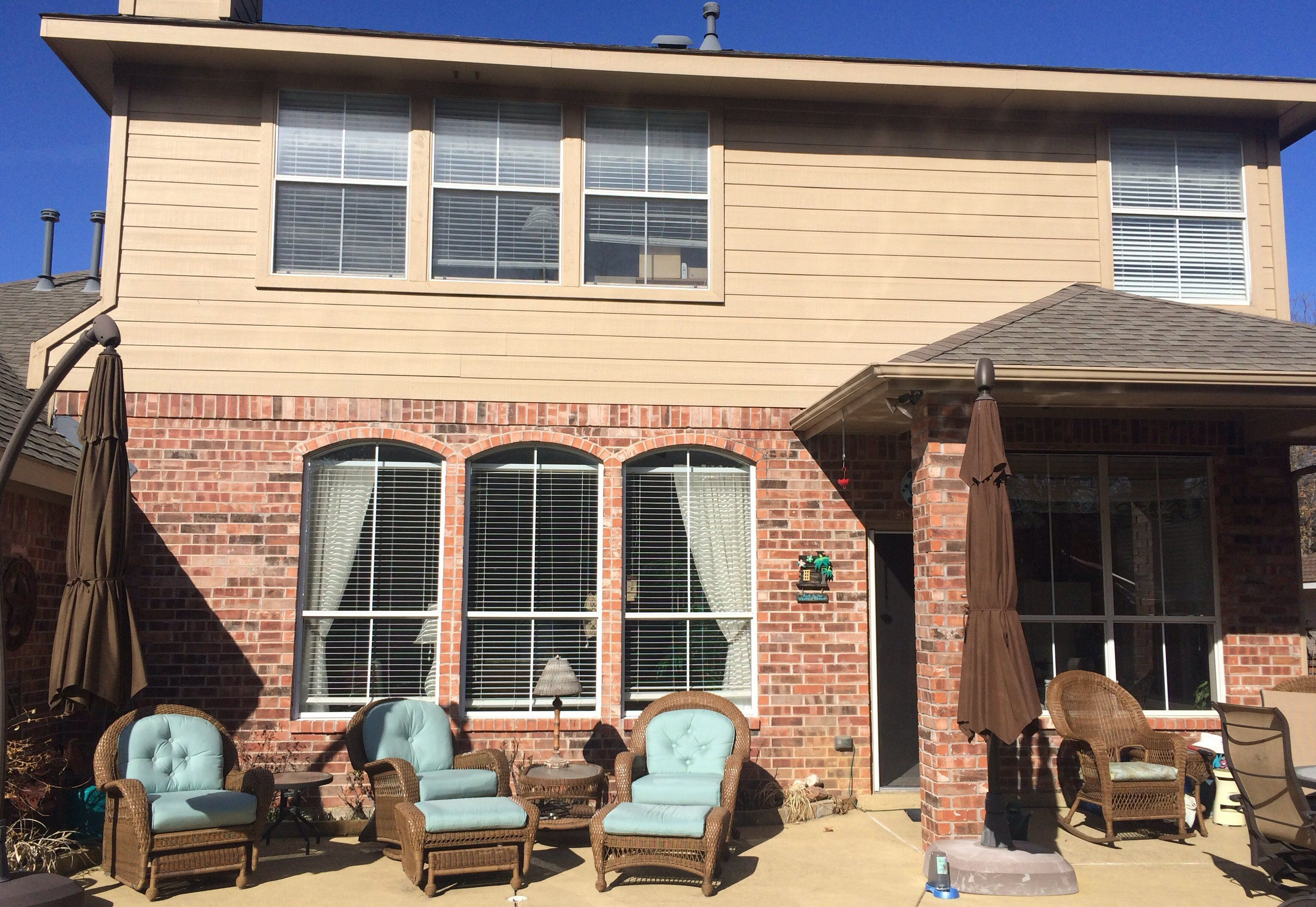 Brick veneer in the back of a suburban home near Dallas, Texas