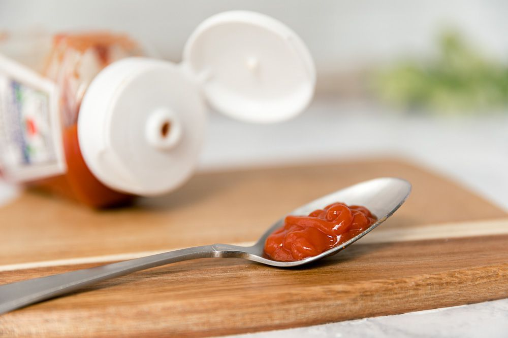 ketchup on a spoon