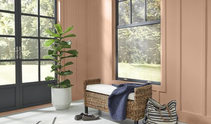 Behr 2021 Color of the Year Canyon Dusk on walls of entryway