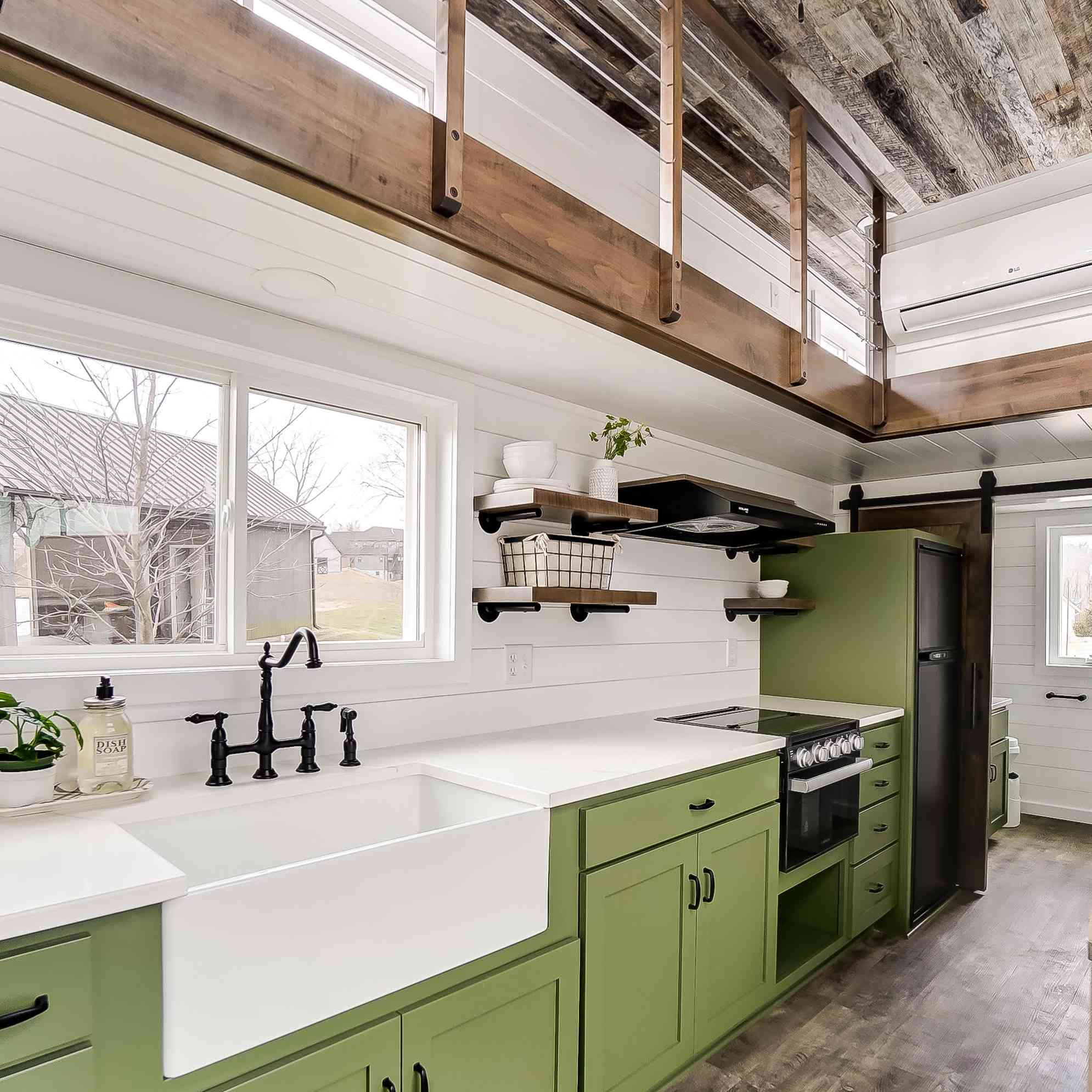tiny home kitchen with avocado green cabinets