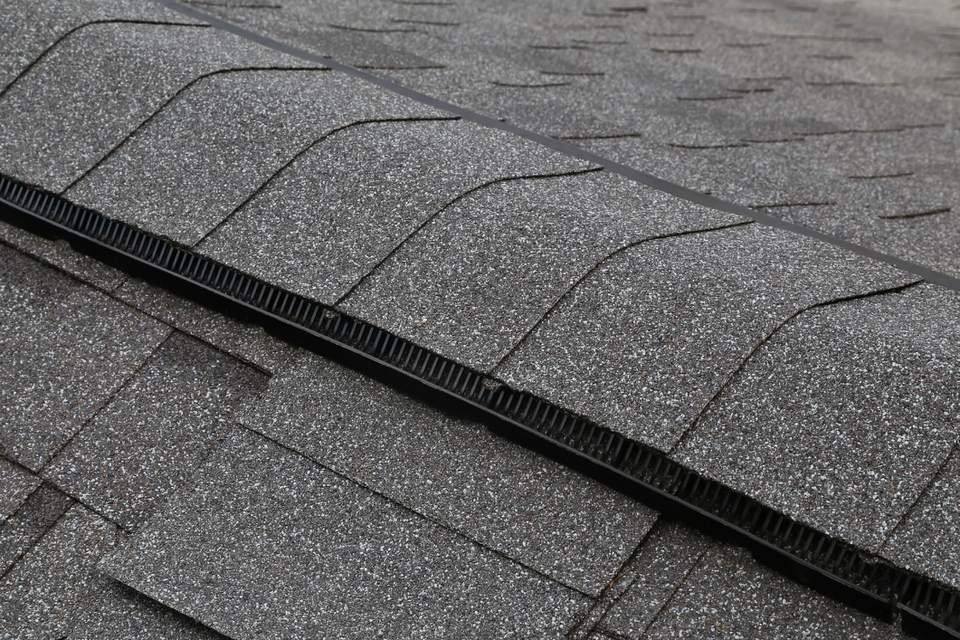 Close up of roof ridge with vent