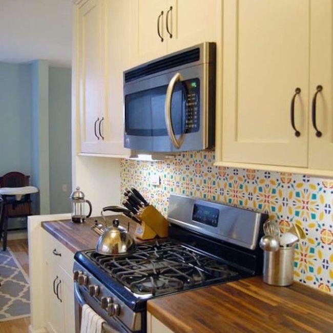kitchen with bright backsplash