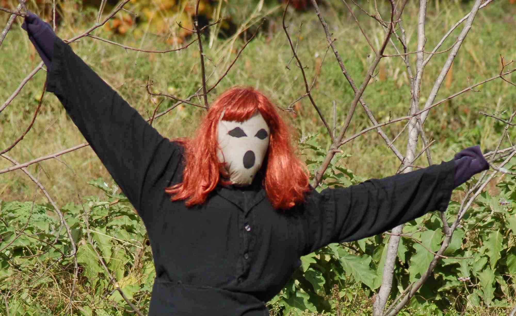 scarecrow with a red wig