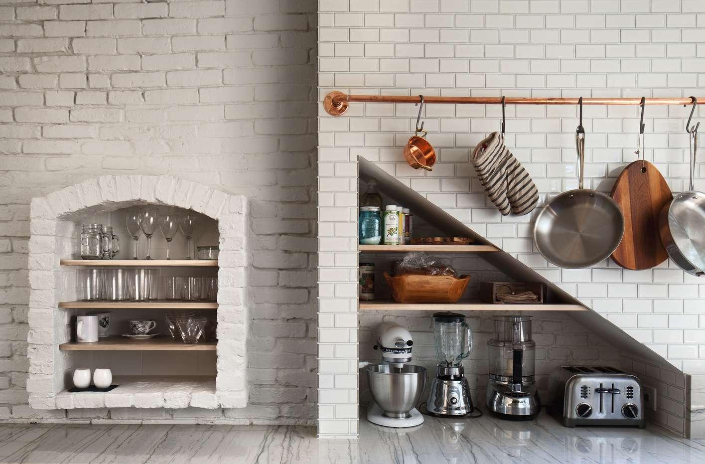 kitchen with storage recess